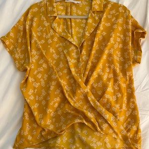 Yellow Floral Wrap Top with buttons
